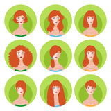 Woman redhead hairstyle icon set. Vector set of nine fashion femine redhead silhouette hairstyle. Woman icon avatar collection Stock Photos