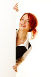 Woman redhead over white Stock Photography