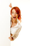 Woman redhead over white Royalty Free Stock Photos