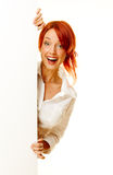 Woman redhead over white Royalty Free Stock Images