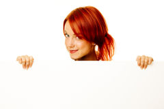 Woman redhead over white Stock Photos