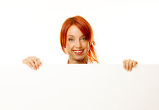 Woman redhead over white Royalty Free Stock Image