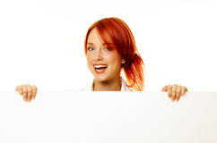 Woman redhead over white Royalty Free Stock Photography