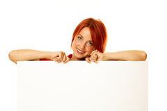 Woman redhead over white Stock Images