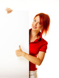 Woman redhead over white Stock Photo