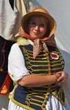 Woman reenactor at Borodino battle historical reenactment in Russia Stock Photography