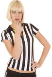 Woman ref blow whistle serious Royalty Free Stock Photography