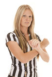 Woman referee arms crossed serious Royalty Free Stock Images