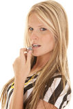 Woman referee head whistle mouth Royalty Free Stock Image
