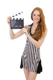 Woman referee with movie Stock Photos