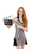 Woman referee with movie Royalty Free Stock Photography