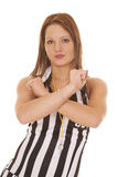 Woman referee signs arms crossed Royalty Free Stock Image