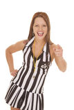 Woman referee signs point and laugh Royalty Free Stock Photography