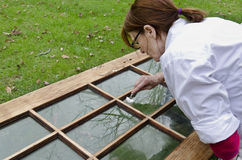 Woman refinishing old door. Woman outdoors scraping glass pane of old door Royalty Free Stock Images