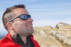 Woman reflected on man sunglasses Royalty Free Stock Photo