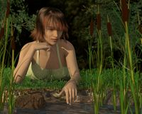 Woman reflecting by a pond royalty free stock images