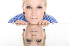 Woman reflection mirror smile Stock Image