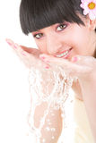 Woman refreshing the face Royalty Free Stock Images
