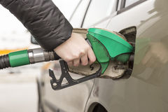Woman Refueling Car Royalty Free Stock Photos