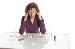 Woman refuses medication Stock Image