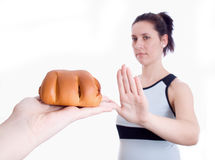 Woman Refuses Muffins Isolated Stock Image