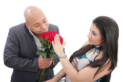Woman refusing apologies from her boyfriend Stock Images