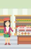 Woman refusing junk food vector illustration. Stock Photography