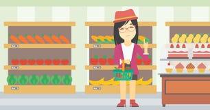 Woman refusing junk food vector illustration. Royalty Free Stock Photo