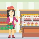 Woman refusing junk food vector illustration. Royalty Free Stock Image