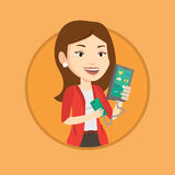 Woman reharging smartphone from portable battery. Royalty Free Stock Photo