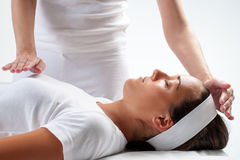 Woman at reiki session. Stock Images