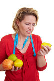 Woman rejecting fruits Royalty Free Stock Photo