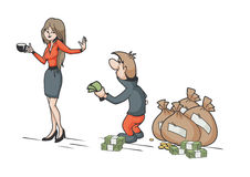 Woman rejecting male money Royalty Free Stock Photography