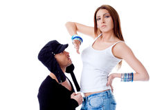 Woman rejecting man argument Stock Image