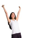 Woman rejoices with arms in air Stock Photos