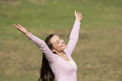 Woman rejoicing Royalty Free Stock Photography