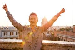 Woman rejoicing on street Rome Stock Photos