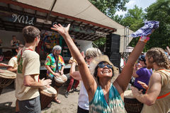 Woman Rejoicing at the Wild Goose Festival Stock Image