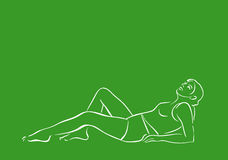Woman relax. Illustration vector young female relax exercise outlines art Stock Photo