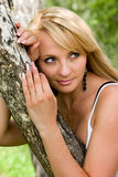Woman relax. Young nice woman girl  has a rest in the wood Stock Photos