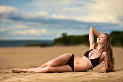 Woman relax on beach Stock Photo