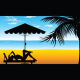 Woman relax on the beach illustration in colorful Royalty Free Stock Photography