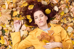Woman relax in a beautiful autumn nature Stock Image
