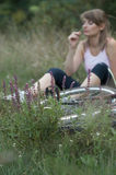 Woman relax bike unfocus. Young female woman bike relax Royalty Free Stock Photos