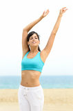 Woman relax and dancing on beach stock photos