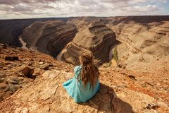 Woman relax in Goosenecks state Park, USA royalty free stock photos