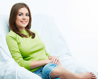 Woman relax at home. Female model Royalty Free Stock Photo
