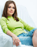 Woman relax at home. Royalty Free Stock Photography