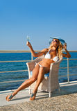 Woman Relax In Armchair On Mediterranean Coast Royalty Free Stock Photo