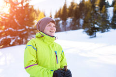 Woman relax in mountains during winter hiking. Beautiful winter nature at sunny day in mountains Royalty Free Stock Photography